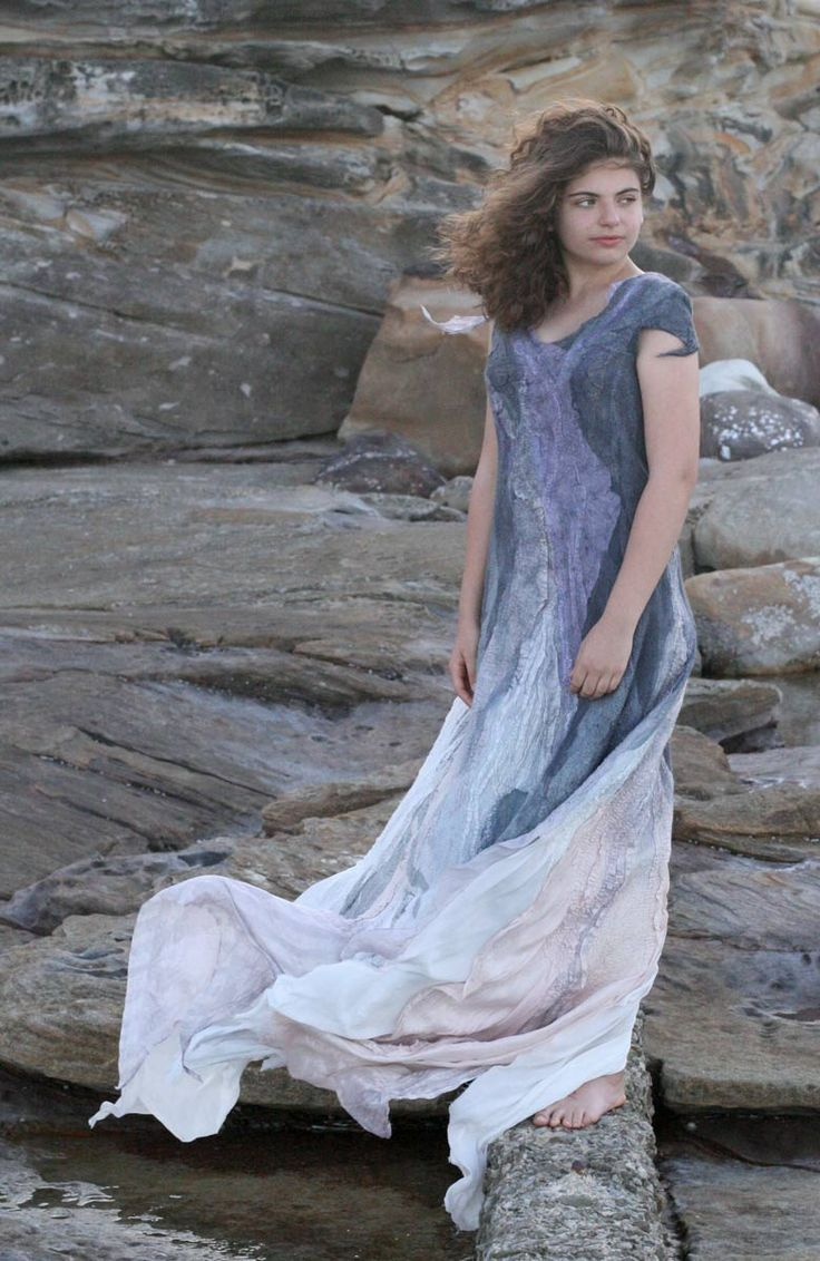 Buy the fashion nuno felted wool silk dress by Vera Alexanderova. #fashion #fashiondress #women #womensfashion #wedding #weddingdress #boho #bohochic #bohowedding #bohostyle #bridesmaiddress #bride #unique #uniquedress