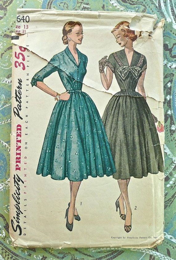 Simplicity 3640  Vintage 1950s Womens Dress Pattern by Fragolina, $12.00