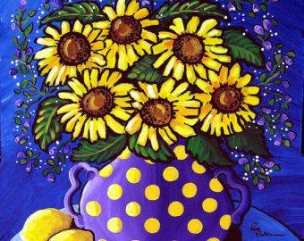 Limones de girasoles púrpura impresión de Giclee arte popular divertido caprichosa naturaleza muerta