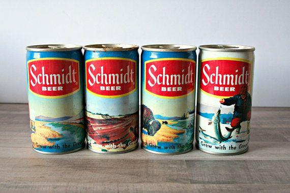 Schmidt Beer Cans  Find them here:  https://www.etsy.com/listing/524590883/schmidt-beer-cans-vintage-schmidt-beer?ref=shop_home_active_7  #MyOliviaVintage