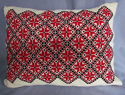 Ukrainian Hand Made Embroidered Pillow Red and Black Needlepoint 15"
