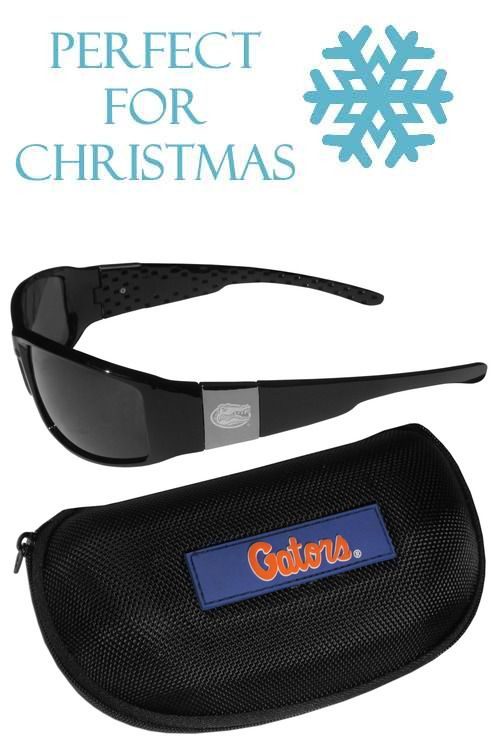 ede9814b5b55 These designer inspired frames have a sleek look in all black with  high-polish chrome Florida Gators shields on each arm with an etched logo.