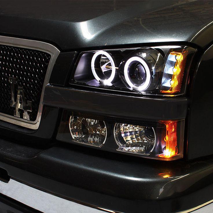03-06 Chevy Silverado Twin Halo LED Projector Headlights Black Head Lights Pair