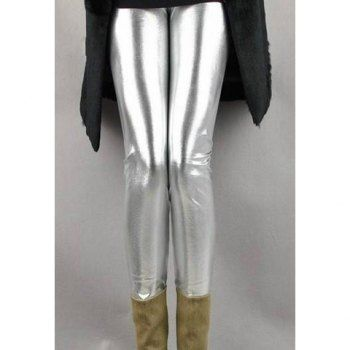 Stylish Slimming Fit Metallic Shine Elastic Women's Skinny Pants, SILVER, ONE SIZE in Pants & Shorts | DressLily.com