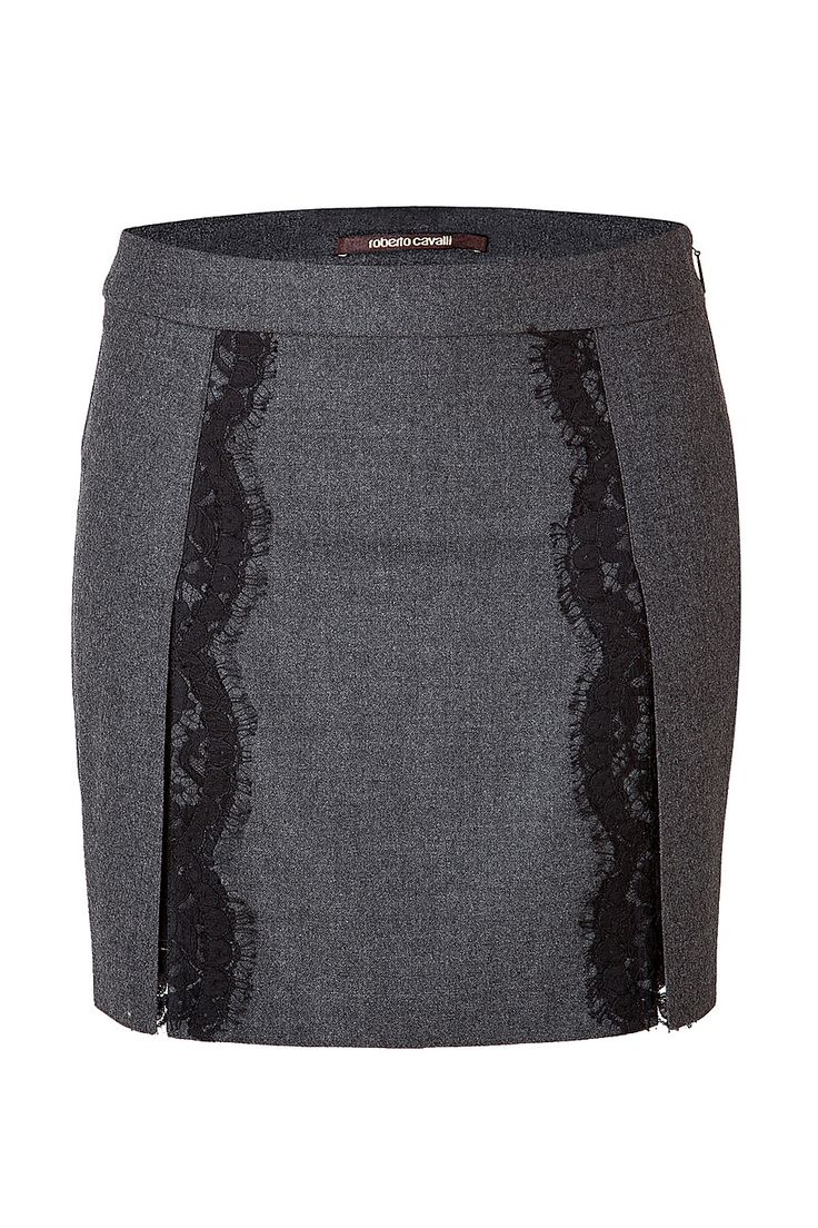 ROBERTO CAVALLI Stretch Wool Mini-Skirt With Lace In Dark Heather Grey. #robertocavalli #cloth #skirts