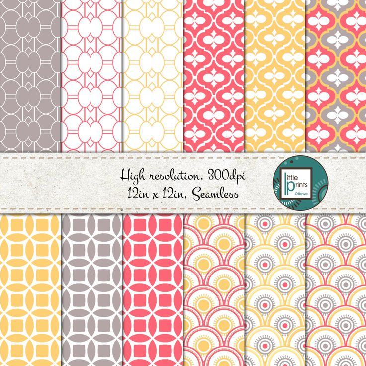 Digital Paper - Pink Gray and Yellow, Digital scrapbook paper, digital background, seamless digital paper, bright pattern scrapbook paper by LittlePrintsOttawa on Etsy