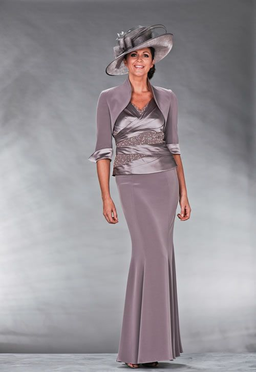 3 piece chrome outfit consisting of a long skirt, satin bodice with crystal detail and bolero jacket with satin detail on the cuffs