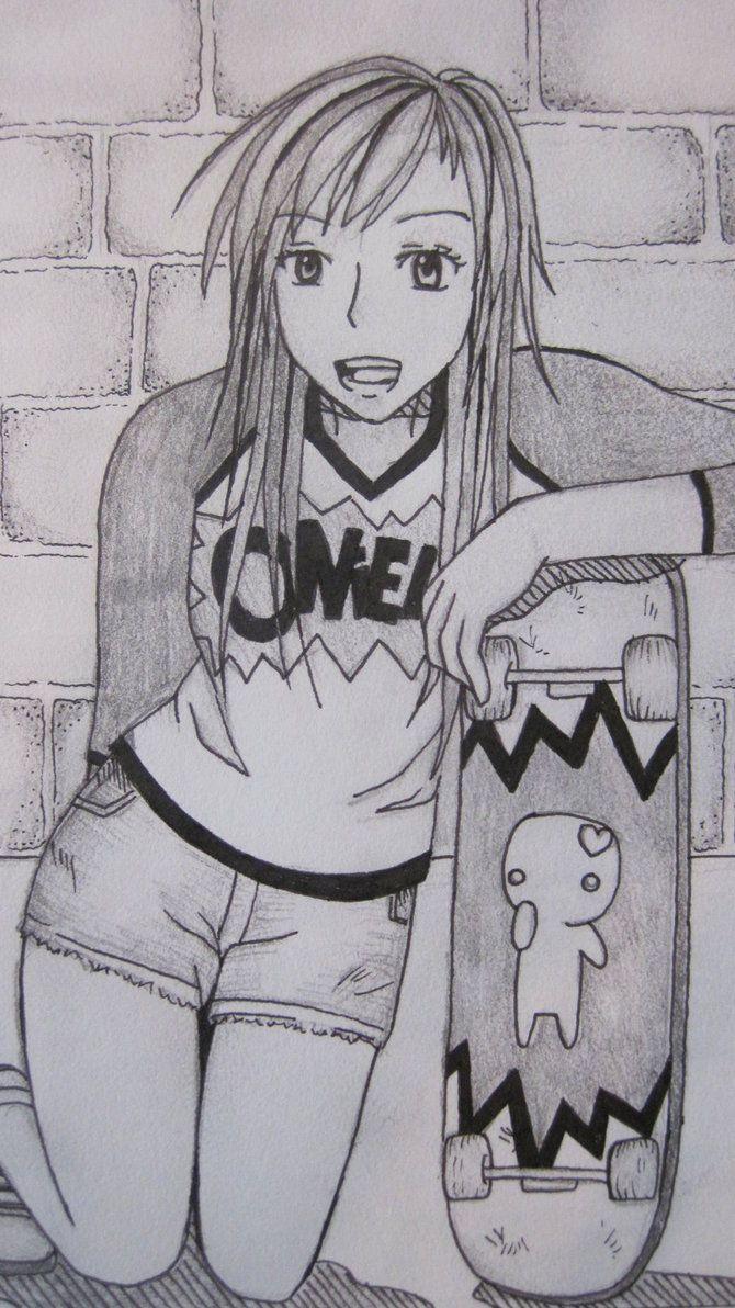 sktaeboarding girl drawings | skater girl by KLeighMcRill