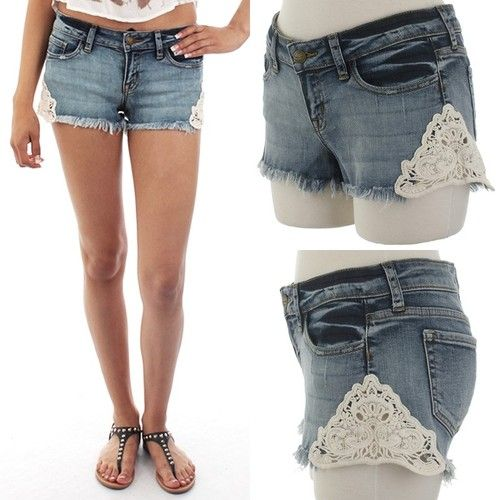Crochet Jeans : ebclo - Denim Shorts with Crochet Detail $32.00 Free Domestic Shipping