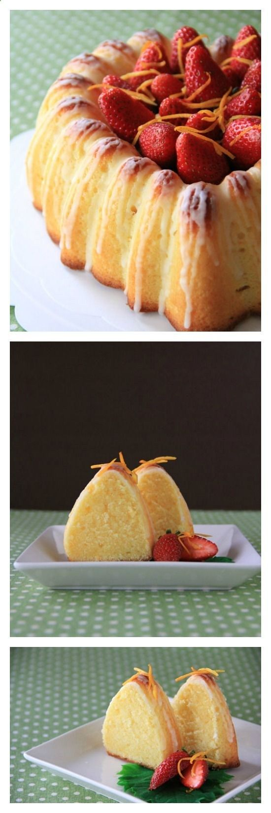 Sicilian Orange Cake Recipe, citrusy, rich, and buttery cake with strawberries and glaze. A must-bake if you love butter cake   http://rasamalaysia.com
