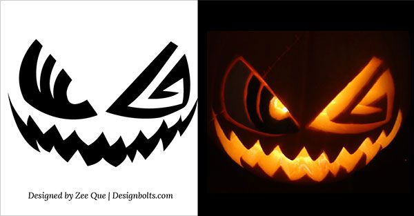 10 Free Printable Scary Halloween Pumpkin Carving Patterns / Stencils & Ideas 2015