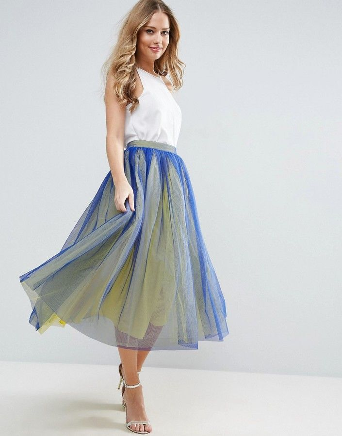 c854c4486 Very Cute Blue and Yellow Tulle Prom Skirt with Two Color Layers. #aff