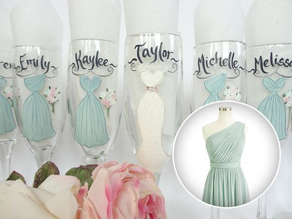 WHAT A CUTE KEEPSAKE FOR THE BRIDAL PARTY TO REMEMBER YOUR SPECIAL DAY!! These unique hand painted bridal party wine glasses will be PAINTED TO YOUR