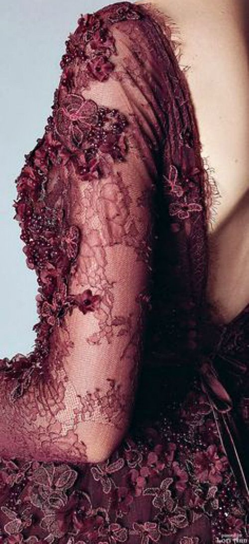 burgundy lace - Alfazairy Couture Fall 2015