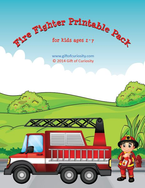 This Fire Fighter Printable Pack from Gift of Curiosity contains 71 fire fighter printables with activities for kids ages 2 to 7. The a