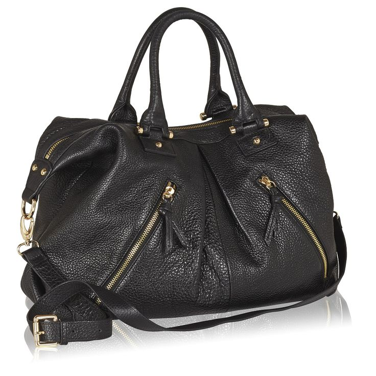 Naledi Copenhagen NB22 2-zip tote Black leather with goldtone hardware