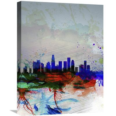 Naxart 'Los Angeles Watercolor Skyline 1' Graphic Art on Wrapped Canvas Size: