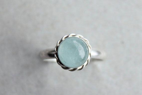 icy blue aquamarine gemstone ring. matte by moonspinnershop