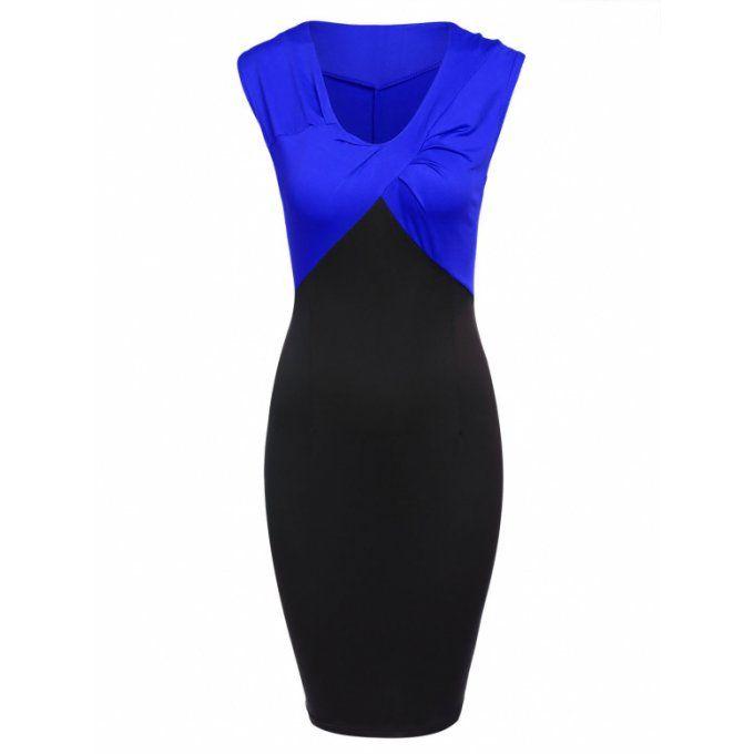 Robe chic de travail bicolore col V noir & bleu - bestyle29.com