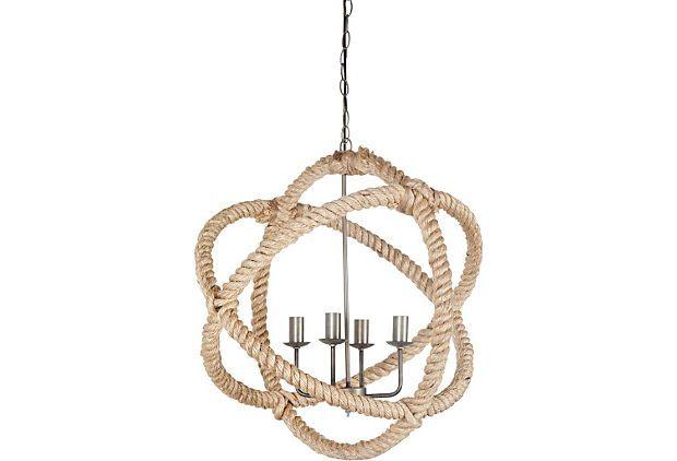 Armond 4-Light Chandelier, Natural Rope on OneKingsLane.com