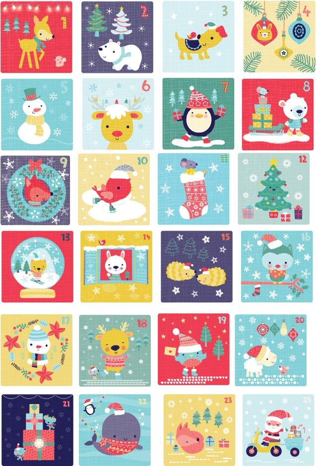 advent illustrations - I'd love to put these behind the doors of cardboard roll houses.
