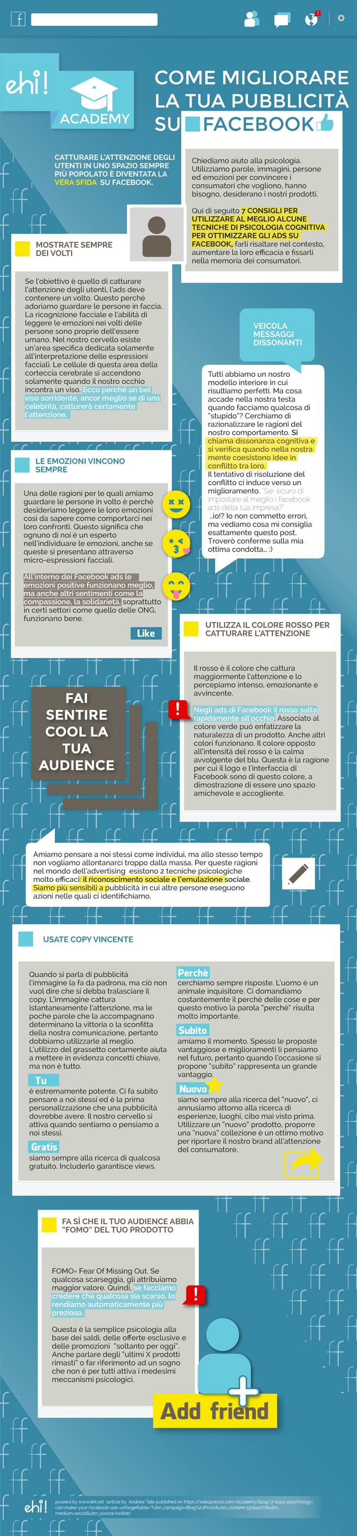 Sei sicuro di costruire i Facebook ads nel modo giusto? Scoprilo leggendo i consigli ehi!Academy di Novembre.  #infographic   #facebook   #infographicoftheday