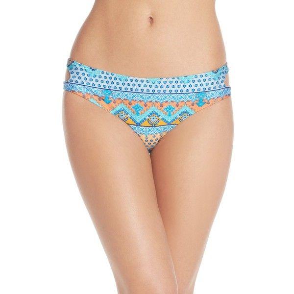 MINKPINK 'Ray Of Light' Side Cutout Hipster Bikini Bottoms ($49) ❤ liked on Polyvore featuring swimwear, bikinis, bikini bottoms, multi blue, cut out bikini bottoms, swimming bikini, blue bikini, cut out bikini and swim bikini bottoms