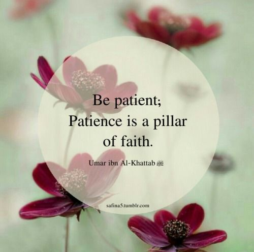 Be patient; patience is a pillar of faith - Umar Ibn Al-Khattab (RA). [by safina5.tumblr.com]