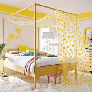 happy yellow bedroom guest room double border on the wall bright yellow color soo fun love the sheer polka dot canopy - Yellow Canopy Interior