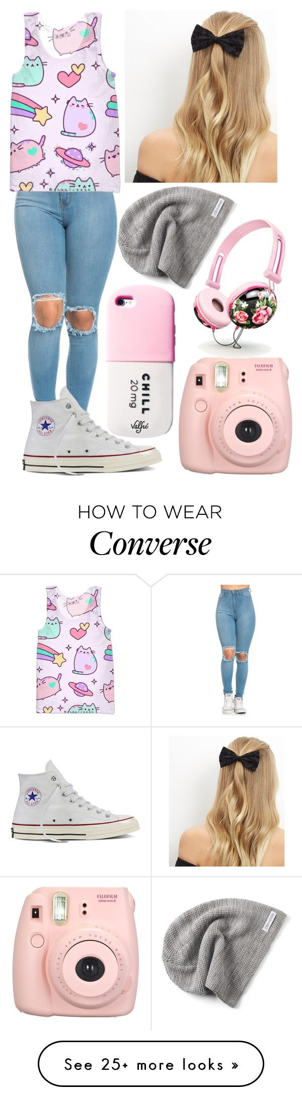 """Untitled #712"" by mriss-abbrie on Polyvore featuring Pusheen, Converse, Fujifilm, New Look and Valfré"