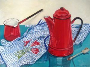 Time for a Brew Oil on Panel #enamel #vintageenamel #stilllife
