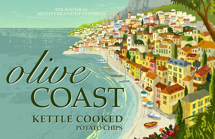 Illustration of Mediterranean coastal town for packaging by Michael Crampton.