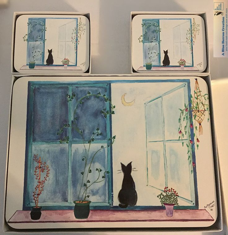 Vintage: Jason Coasters and Placemats Designer Collection, Black Cat In Window by Moonlight, RARE & Charming, Catherine Piret, Original Box by ABlueHerronCreation on Etsy
