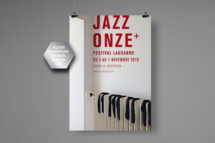 Серия плакатов для джазового фестиваля Jazz Onze+ в Лозанне<br><br>Плакаты выполнены швейцарским дизайнером Николасом Центнером с 2002 по 2010 год<br><br>#awd_poster via behance.net/gallery/932316/JAZZ-11-posters