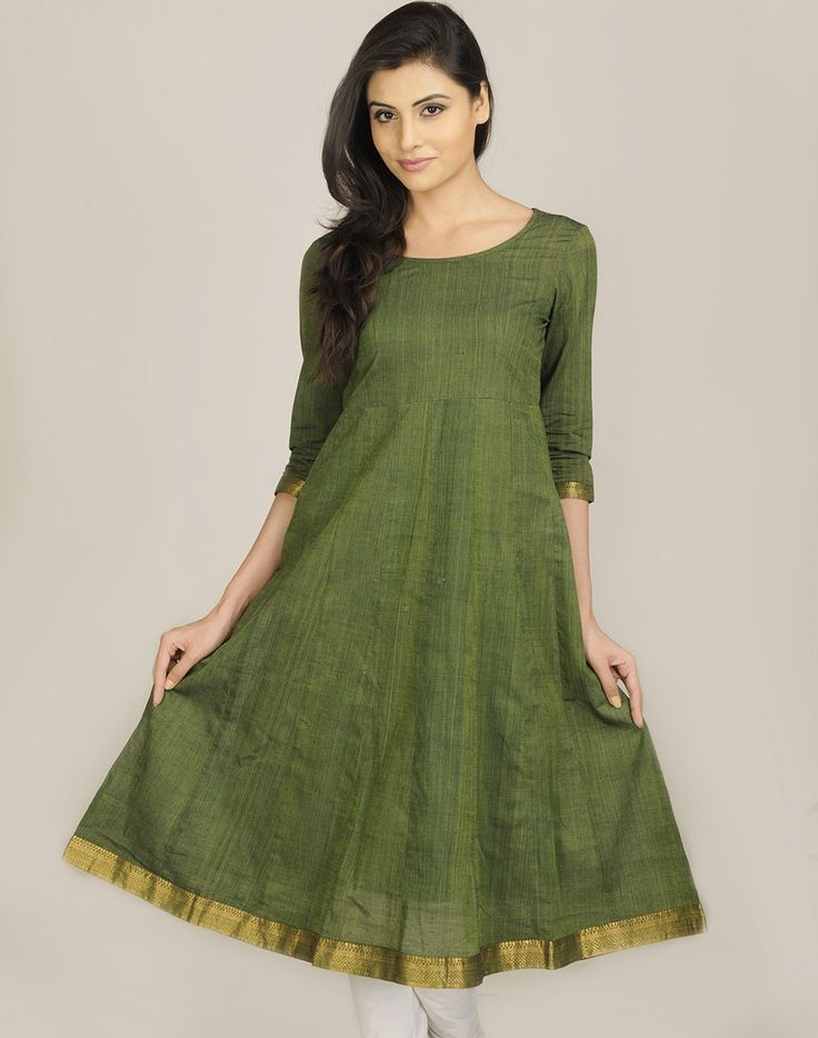 Cotton Mangalgiri Zari Border Anarkali Long Kurta