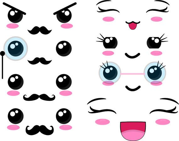 40 PNG Files - Kawaii Faces SET 2 - Digital Clip Art Graphics Personal/ Commercial Use(021)