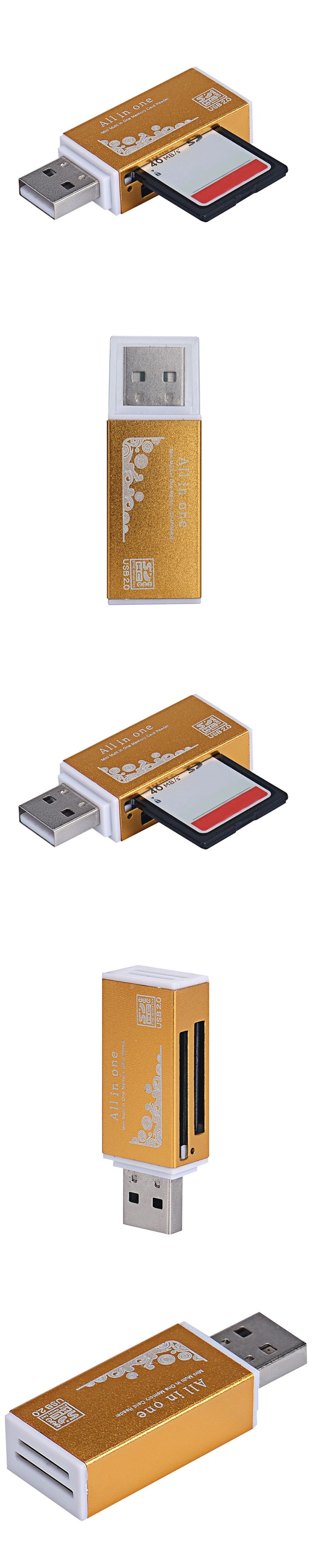 gold color Multi Card Reader High Speed Data Transmission Slim USB 2.0 SDHC Mini Micro SD T-Flash TF M2 Memory Card Reader