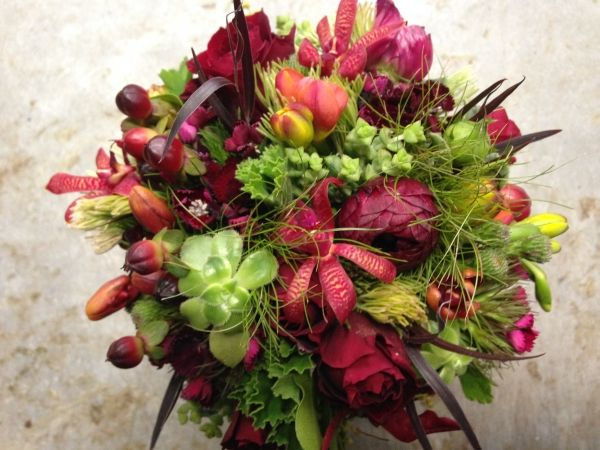 textured burgundy, chocolate and green bridal bouquet, Francoise Weeks