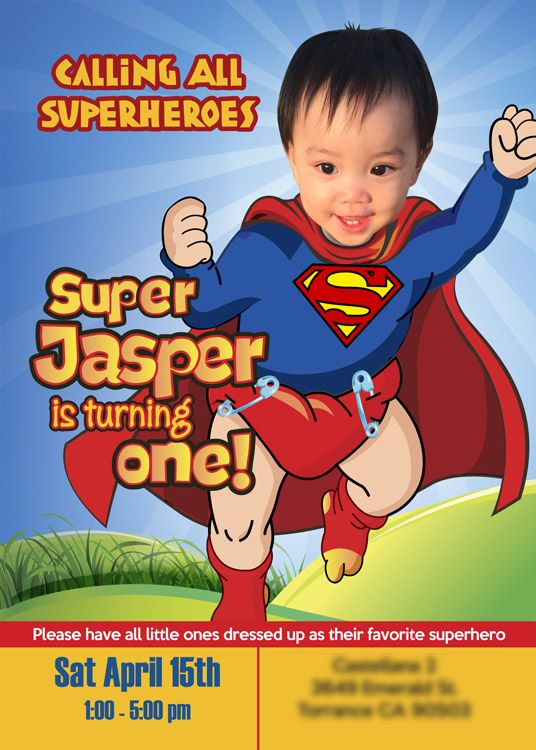 29 best 1st Birthday Invitation Baby Superheroes images on