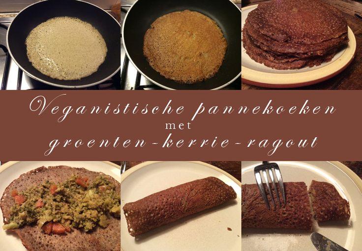 Veganistische pannenkoeken met groenten-kerrie-ragout