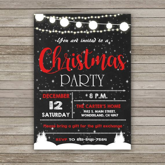 Christmas Invitation Christmas Party by RainbowSweetStudio on Etsy
