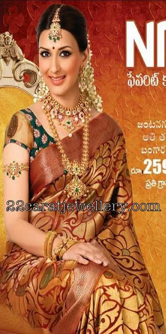 Jewellery Designs: Sonali Bendre in Kalyana Kanchi Jewellery Ad