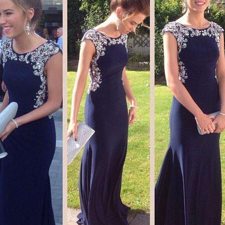 Charming Prom Dress,Navy Blue Prom Dress,Chiffon Prom Dress,Evening