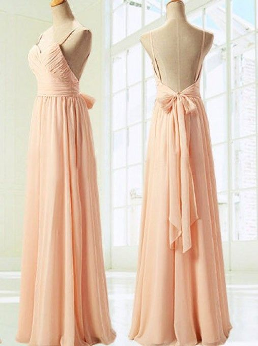 Ulass Simple Dress Elegant Spaghetti Sweetheart Long Peach Chiffon Ribbon Prom/Bridesmaid Dress