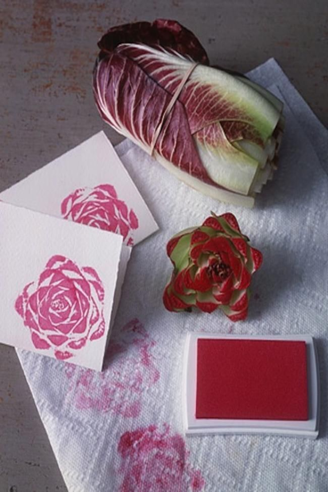 using radicchio to make a gorgeously designed stamp for your menu, invites, or thank you cards
