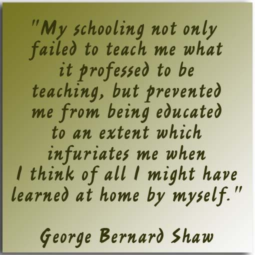 My Schooling not only failed to teach me what it professed to be teaching, but prevented me from being educated to an extent which infuriates me when I think of all I might have learned at home by myself.    George Bernard Shaw