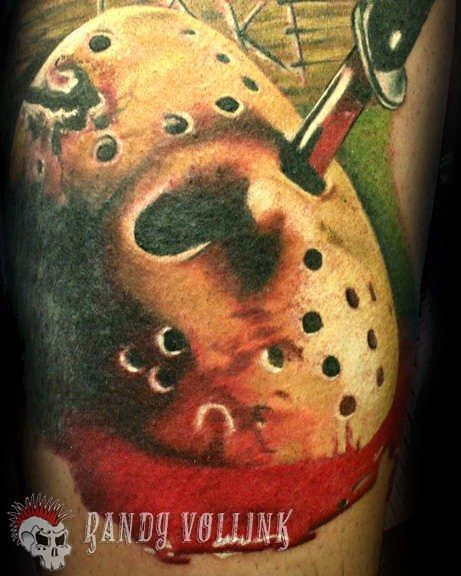 Friday the 13th tattoo by Randy Vollink @randy_vollink Owner/artist @thetat2lounge in Mesa AZ Portfolio at http://ift.tt/1CQxy9s #fridaythe13th #jasonvoorhees #picoftheday #tattoooftheday #tatuador #tattoos #tattooart #supportgoodtattooers #tattooedlife #instagood #instadaily #tattoosforlife #tattoosofinstagram #tattoocloud #photooftheday #bestoftheday #tattooartistmagazine @tattooartistmagazine @tattoo.artists