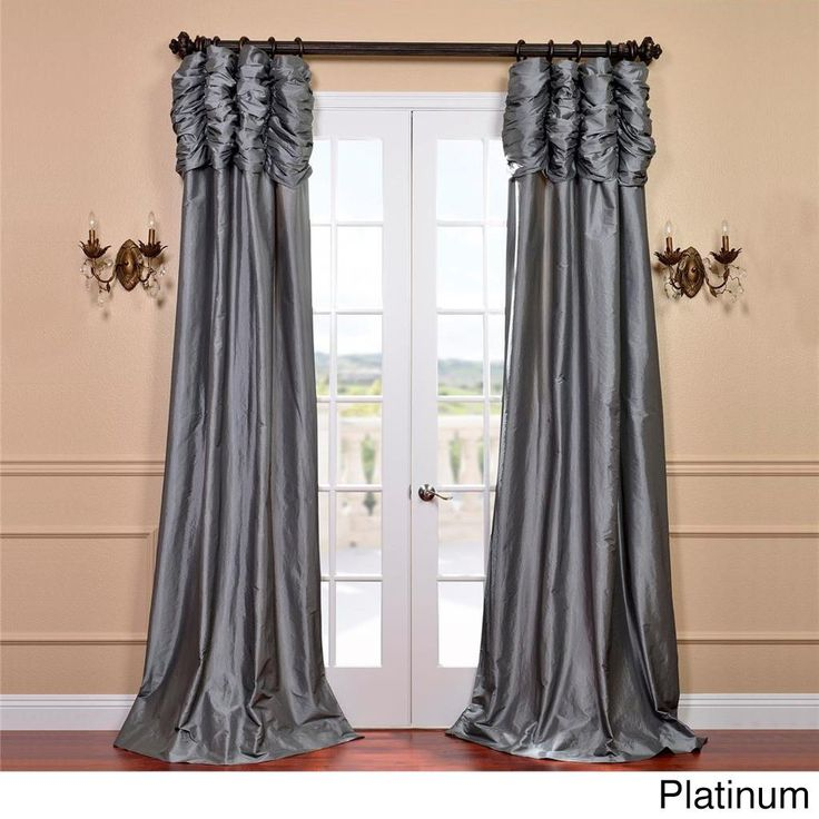 Exclusive Fabrics Faux-silk Tafetta 108-inch Solid Color Ruched Header Curtain Panel