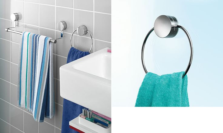 Suction cup towel holder (Saugnapf-Handtuchhalter). Saves your tiles, no drilling, no mess.