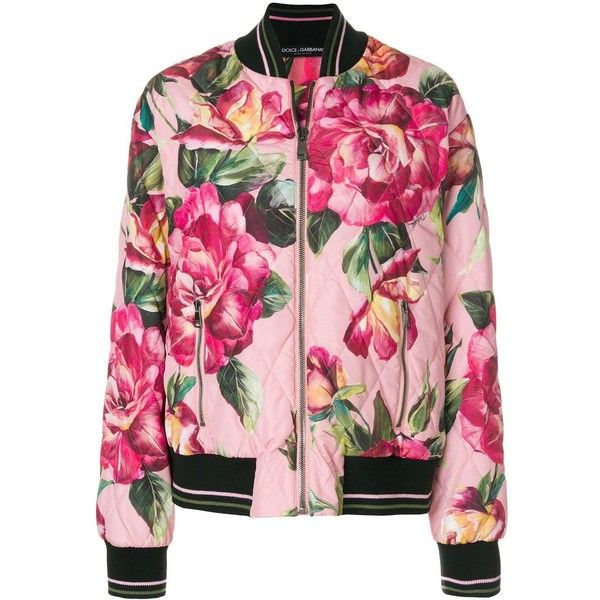 Dolce & Gabbana Rose Print Bomber Jacket ($1,800) ❤ liked on Polyvore featuring outerwear, jackets, flower jacket, pink jacket, style bomber jacket, zipper pocket jacket and flower bomber jacket